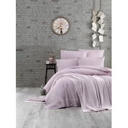 Спално бельо от 100% памук с плетено одеяло - LIGHT PURPLE от StyleZone