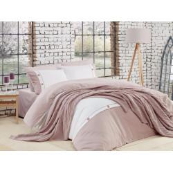 Спално бельо от 100% памук с плетено одеяло - PUDRA от StyleZone