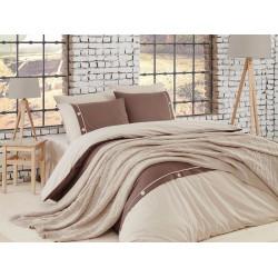 Спално бельо от 100% памук с плетено одеяло - BEIGE от StyleZone