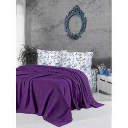 Памучно покривало за легло 3 в 1 - ТЪМНОЛИЛАВО от StyleZone