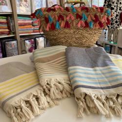 Стилна плажна кърпа от 100% памук - СИВА НА ЖЪЛТИ ЛИНИИ от StyleZone