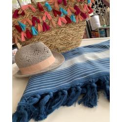 Стилна плажна кърпа от 100% памук - ТЪМНО СИНЯ НА БЕЛИ ЛИНИИ от StyleZone