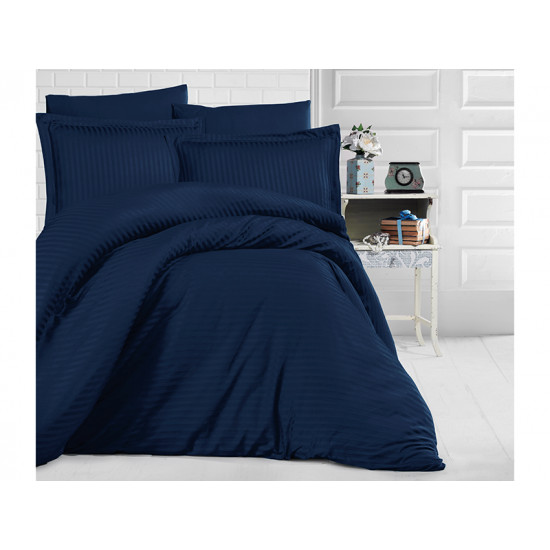 Едноцветно спално бельо на райе от 100% сатениран памук - DARK BLUE от StyleZone