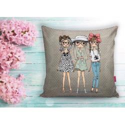 Арт деко калъфка за възглавница - МОМИЧЕТА 2 от StyleZone