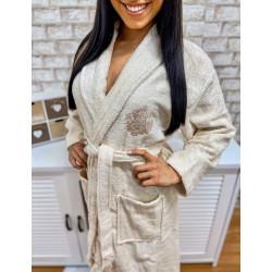 Плюшенo-хавлиен халат за баня 100% памук  - СВЕТЛОБЕЖАВ С БРОДЕРИЯ от StyleZone