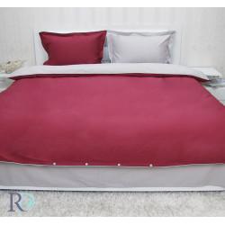 Двуцветно спално бельо от памучен сатен (бордо/сиво) от StyleZone