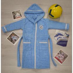 Детски  хавлиен  халат за баня от 100% памук за момче - СВЕТЛО СИН от StyleZone