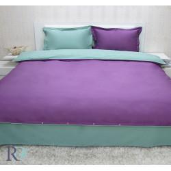 Двуцветно спално бельо от памучен сатен (тъмно лила/зелено) от StyleZone