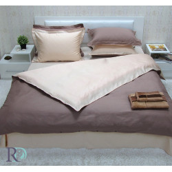 Двуцветно спално бельо от памучен сатен (капучино/светла праскова) от StyleZone