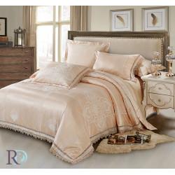 Спално бельо от памучен сатен жакард с дантела - ПАЛОМА СВЕТЛА ПРАСКОВА от StyleZone
