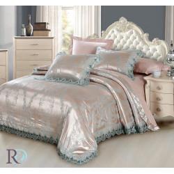 Спално бельо от памучен сатен жакард с дантела - АЛЕКСА ТЮРКОАЗ от StyleZone