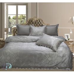 Спално бельо от памучен сатен жакард с дантела - АФРОДИТА СИВО от StyleZone