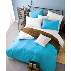 Двуцветно спално бельо от 100% памук ранфорс (тюркоаз/бяло) от StyleZone