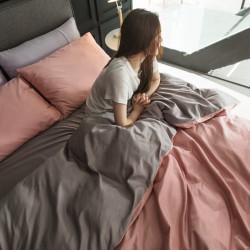 Двуцветно спално бельо от 100% памук ранфорс (светлорозово/сиво) от StyleZone