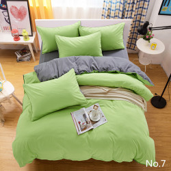Двуцветно спално бельо от 100% памук ранфорс (зелено/графитено сиво) от StyleZone