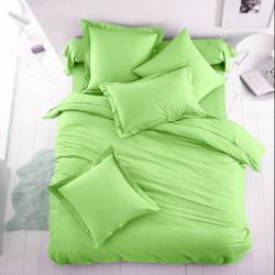 Двуцветно спално бельо от 100% памук ранфорс (зелено/екрю) от StyleZone