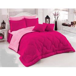 Двуцветно спално бельо със завивка (циклама/светлорозово) от StyleZone