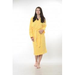 Едноцветен халат за баня 100% памук ритон - ЖЪЛТ от StyleZone