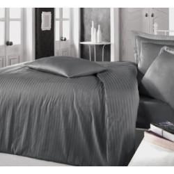 Едноцветно спално бельо на райе от 100% сатениран памук - Uni Anthrazit от StyleZone