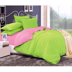 Двуцветно спално бельо от 100% памук ранфорс (лайм/бейби розово) от StyleZone