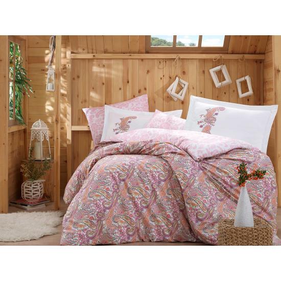Луксозно спално бельо от 100% памук поплин - GUILIA PEMBE от StyleZone