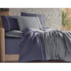 Двуцветно спално бельо на райета от сатениран памук - DUMAN INDIGO от StyleZone