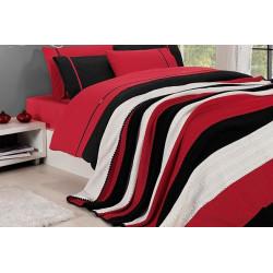 Спално бельо от 100% памук с плетено одеяло - RED STRIPES от StyleZone