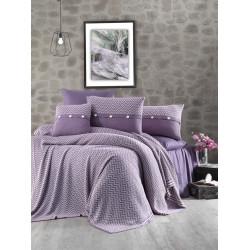 Спално бельо от 100% памук с плетено одеяло - PURPLE STRIPS от StyleZone