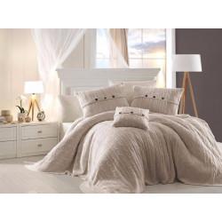 Спално бельо от 100% памук с плетено одеяло - ECRU от StyleZone