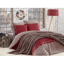 Спално бельо от 100% памук с плетено одеяло - CLARET от StyleZone