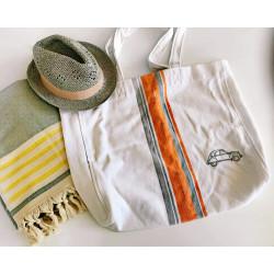 Плажна чанта - БЯЛА С ОРАНЖЕВИ ИВИЦИ от StyleZone