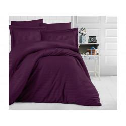 Едноцветно спално бельо на райе от 100% сатениран памук - Mor от StyleZone