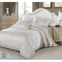 Спално бельо от памучен сатен жакард с дантела - ПАЛОМА БЯЛО от StyleZone