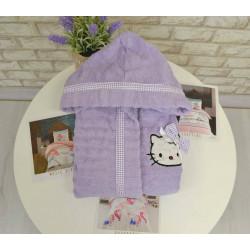Детски хавлиен халат за момиче с бродерия - ЛИЛАВ от StyleZone