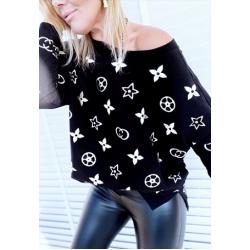 Дамска черно-бяла блузка